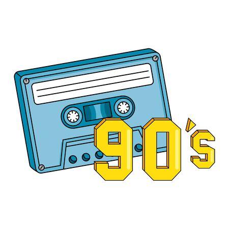 cassette nineties retro isolated icon vector illustration design