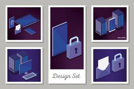 designs set of digital technology vector illustration design