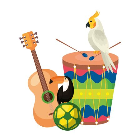 drum with parrot and set icons vector illustration design