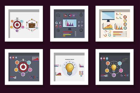 Paquete de estadísticas, diseño de ilustraciones vectoriales iconos infográficos