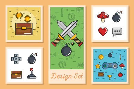 designs set of video game retro and icons vector illustration design Ilustracja
