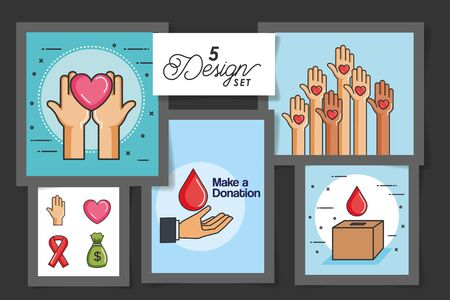 five designs of make a donation with icons vector illustration design