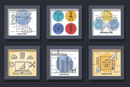 Architecture et construction scénographie de l'atelier de maintenance de travail réparant les progrès du travail et du thème industriel Illustration vectorielle