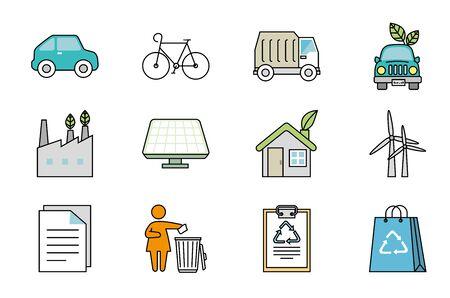 bundle of ecology friendly set icons vector illustration design Archivio Fotografico - 139202052