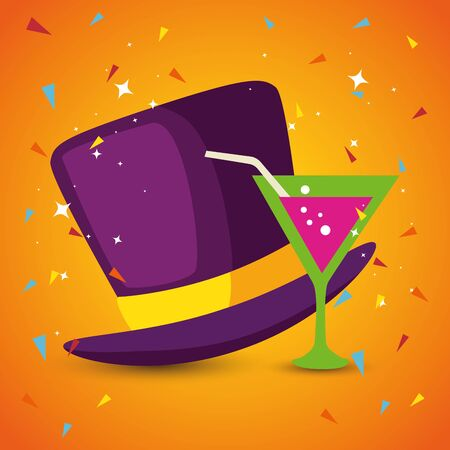 Mardi gras hat and cocktail design, Party carnival decoration celebration festival holiday fun new orleans and traditional theme Vector illustration  イラスト・ベクター素材