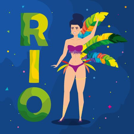 poster of carnival rio with exotic dancer and decoration vector illustration design