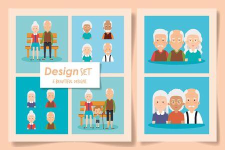 six designs of grandparents with grandchild vector illustration design