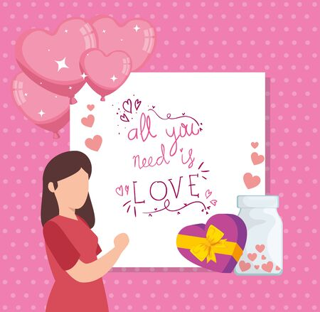 poster with all you need is love and decoration vector illustration design