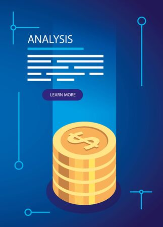 analysis data with pile coins vector illustration design