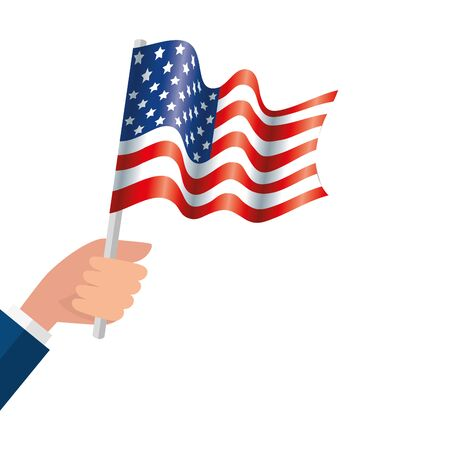 Hand holding usa flag design, United states america independence labor day nation us country and national theme Vector illustration  イラスト・ベクター素材