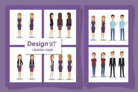 six design of elegant business people vector illustration design Illusztráció