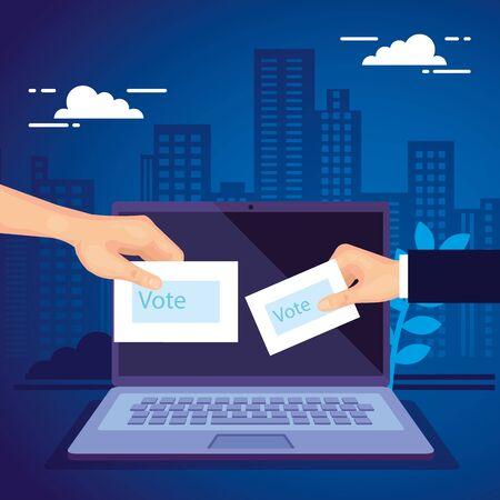 La main avec un ordinateur portable pour voter en ligne la conception d'illustration vectorielle Vecteurs