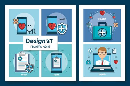 six designs of health and icons vector illustration design Ilustracja