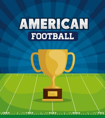 poster of american football with cup trophy in field vector illustration design Ilustração