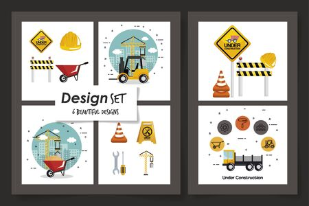 six designs of under construction and icons vector illustration design