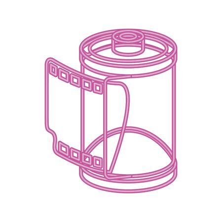 roll camera nineties retro neon light vector illustration design Ilustração