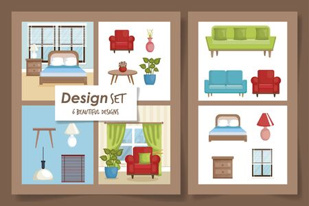 six designs scenes interior of home and icons vector illustration design  イラスト・ベクター素材