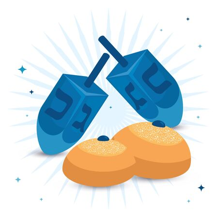 dreidel games traditional with round breads vector illustration design