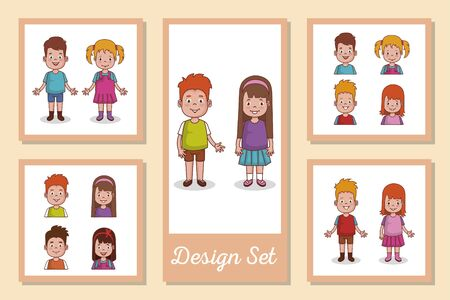 Set of boys and girls cartoons design, Kid childhood little people lifestyle casual person cheerful and cute theme Vector illustration Ilustrace