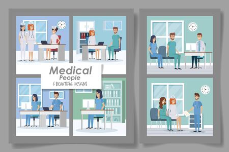 six designs medical people professional vector illustration design Vector Illustration