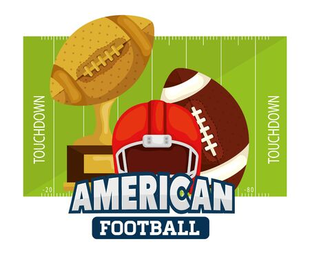 poster of american football with ball and icons vector illustration design