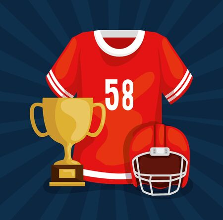 american football shirt with trophy and helmet vector illustration design 일러스트