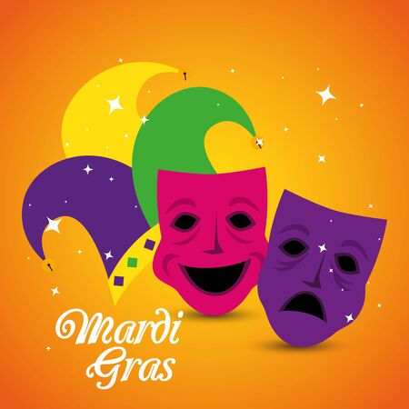 Mardi gras masks and hat design, Party carnival decoration celebration festival holiday fun new orleans and traditional theme Vector illustration