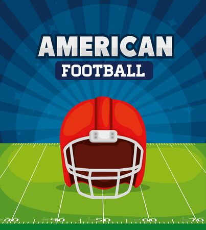 poster of american football with helmet in field vector illustration design