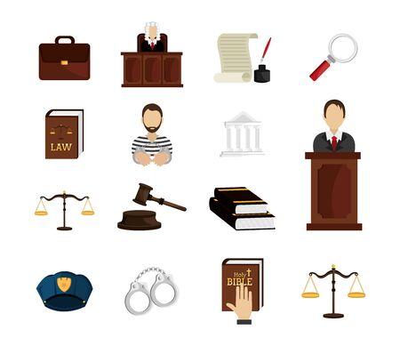Satz von Rechts- und Justizsymbolen Vektor-Illustration-Design