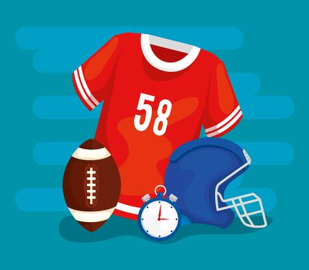 american football shirt with helmet and ball vector illustration design