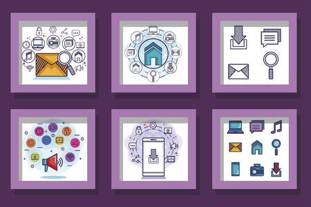 bundle of social media marketing and icons vector illustration design