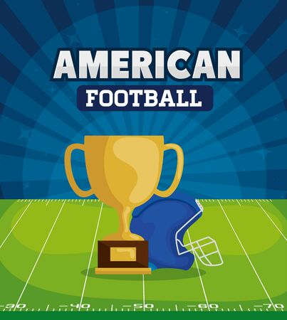 poster of american football with trophy and helmet vector illustration design