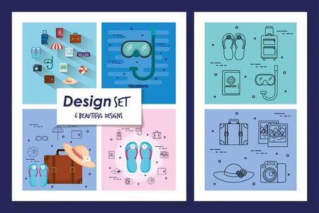 six designs of vacation set icons vector illustration design Stock fotó - 139216091