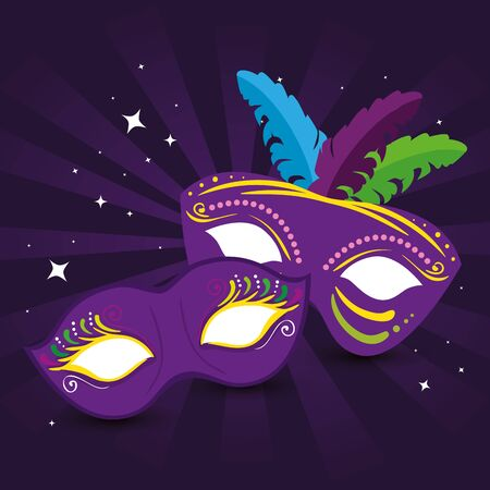 Mardi gras masks design, Party carnival decoration celebration festival holiday fun new orleans and traditional theme Vector illustration