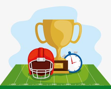 poster of trophy chronometer and helmet in football field american vector illustration design 일러스트