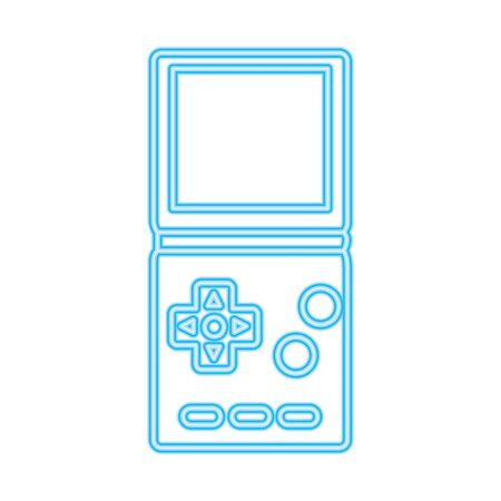 video game handle nineties style neon light vector illustration design  イラスト・ベクター素材