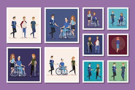 bundle of group people disabled vector illustration design
