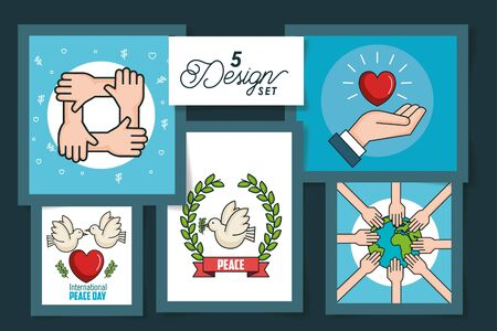 five designs of international peace day with icons vector illustration design