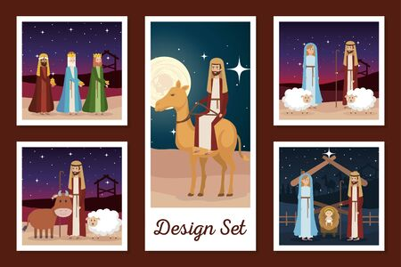 designs set of manger characters vector illustration design Stock Illustratie