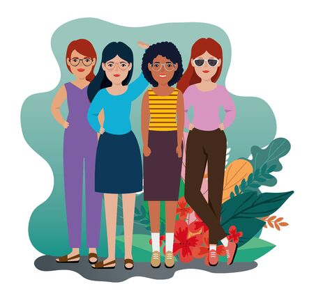 group of women standing with leafs tropicals vector illustration design