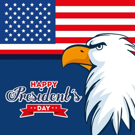 Eagle and flag design, Usa happy presidents day united states america independence nation us country and national theme Vector illustration  イラスト・ベクター素材