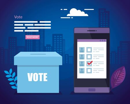 poster of vote with ballot box and smartphone vector illustration design 向量圖像