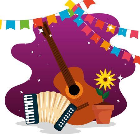 bannière de fête avec guitare et accordéon à festa junina vector illustration Vecteurs