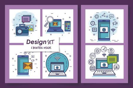designs set of social media marketing and icons vector illustration design