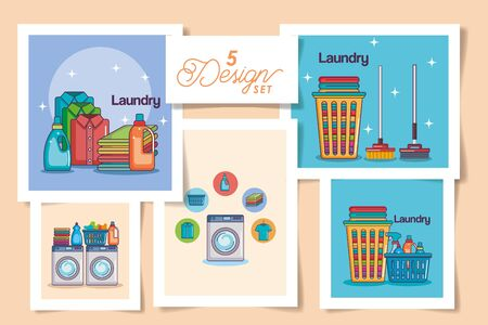 five designs of laundry and icons vector illustration design