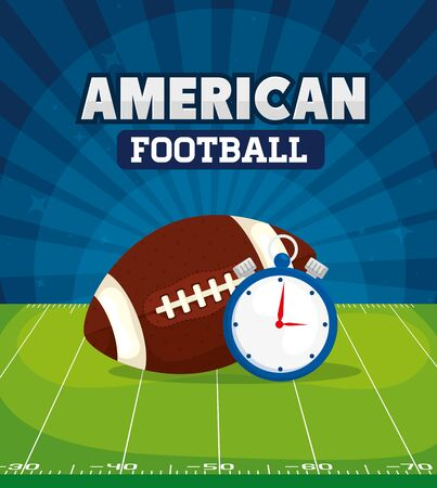 poster of american football with ball and chronometer vector illustration design