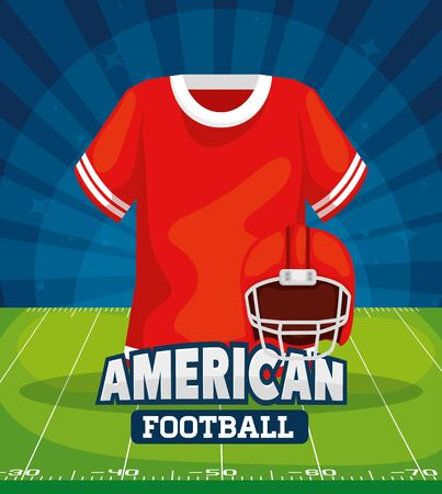 poster of american football with shirt and helmet vector illustration design 일러스트