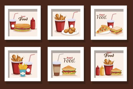 bundle of fast food delicious vector illustration design Çizim