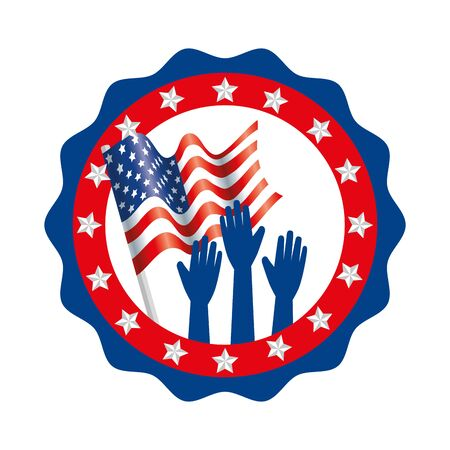 Usa hands and flag inside seal stamp design, United states america independence labor day nation us country and national theme Vector illustration