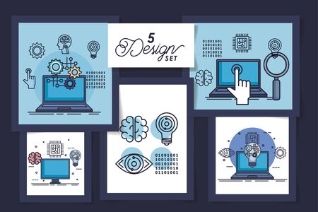 five designs of intelligence artificial and set icons vector illustration design